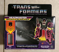 TRANSFORMERS G1 DECEPTICON SKULLCRUNCHER BOX, MANUAL, CARDBOARD BACK,BUBBLES NEW