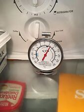 FRIDGE / FREEZER THERMOMETER DIAL-FACE BRAND-NEW STAINLESS STEEL & GLASS