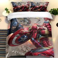 Duvet Cover Pillow Cases 3D Superhero Quilt Cover Bedding Set Single Double King