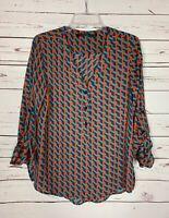 Fun 2 Fun Stitch Fix Women's M Medium Orange Cute Spring Summer Blouse Top Shirt