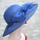 Womens Kentucky Derby Wedding Church royal Ascot Wide Brim Sinamay Hat T125