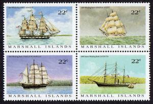 MARSHALL ISLANDS, SCOTT # 132-135 (135A), BLOCK OF 4 USA WHALING SHIPS, MNH