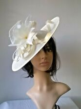 Ivory Feather Fascinator..Hatinator shaped disc Wedding.races.Occasion .new