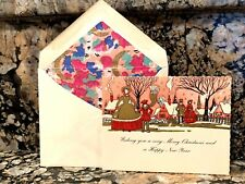 Vintage Greeting Card & Envelope Pink Scene Christmas Art Deco 1920s New