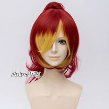 Ombre Anime Ao no Exorcist Shura Kirigakure Red&Blonde Cosplay Ponytail Wig