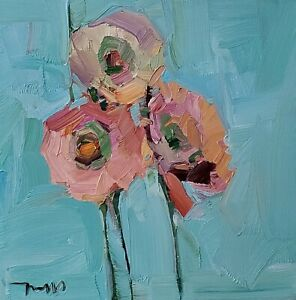 JOSE TRUJILLO Oil Painting IMPRESSIONISM Contemporary COLLECTIBLE FLOWERS 12X12