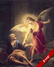 APOSTLE PETER FREED FROM PRISON ANGEL PAINTING CHRISTIAN BIBLE ART CANVAS PRINT