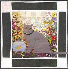 Smokey Russian Blue Cat watercolor quilt kit by Whims Watercolor Quilts