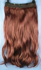 "Cherry Red 5 Clip One Piece Ondulata Riccia Lunga 22"" CLIP IN ON Hair Extension NUOVO"