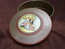Vintage Round Tin Container with Couple sitting on Bench