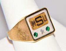 10k Gold Ring MSU Michigan State University Spartan Sz 10.25 Diamond Emerald