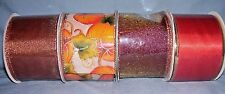 """lot of 4 bolts fall wired ribbon 2 1/2"""" assorted colors and prints"""