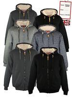BROOKLYN Mens Sherpa Borg Lined Zip Hoodie Fleece Jacket Casual Faux Fur Coat