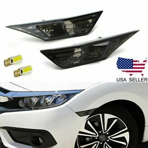 FOR 2016-2021 HONDA CIVIC SMOKED SIDE MARKER LAMP TURN SIGNAL LIGHT W/ LED BULBS