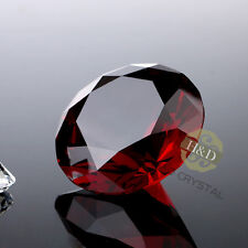 Red Diamond Shaped Crystal Glass Art Paperweight Wedding Favor Shower 40mm