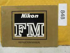 Nikon Fm Original Instruction Manual In English