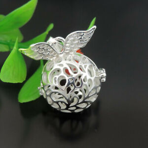 1PC Silver Plated Hollowed Winged Pearl Cage Charm Locket Pendant Jewelry Crafts