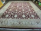 12' X 15' Vintage Hand Made India Agra Larastan Wool Rug Floral Beauty Wine Red