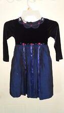 Girl's dress, Jenny Annie Dots, size 5, blue, black velvet, roses, tulle -284