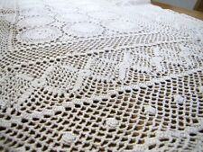 "Beautuful vintage lace tablecloth handmade crochet 48""X29"" beige"