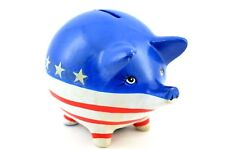 Vintage Piggy Bank Pig Figure American Flag Patriotic Our Own Import Japan Coin