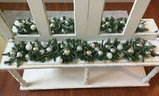 Christmas Garland Mantel Table Runner Swag Silver Ornaments Beads Embellished