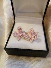 Very Pretty Enamel Orchid Clip On Earrings