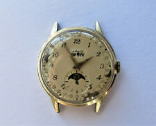 LeCoultre Vintage Mens 10K GF ~ Triple Date Moon Phase Calendar Watch 486/AW