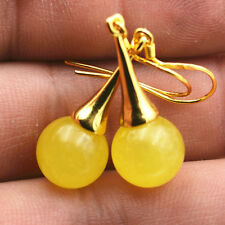 Beautiful Natural topaz jade Gemstone 925 Silver Gold-plated/Dangle Earrings