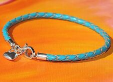 Ladies 3mm Turquoise leather & sterling silver charm bracelet by Lyme Bay Art.