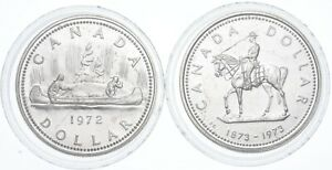 Lot Of 2 1972 & 1973 Canada Canadian Silver Dollar Coin .500 Silver 50% *634