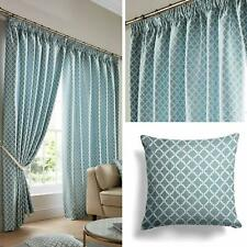 "Teal Lined Curtains Geometric Jacquard Tape Top 3"" Pencil Pleat Curtain Pairs"