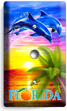 Florida Palm Ocean Dolphins Sunset Light Dimmer Cable Wall Plate Room Home Decor