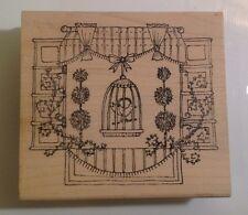 Rubber Stamp, Window Scene With Bird In Bird Cage, Flowers, Lockhart Stamp Co