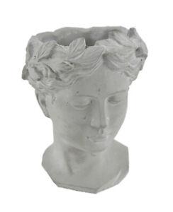 Scratch & Dent Classic Greek Grey Lady Indoor/Outdoor Cement Head Planter