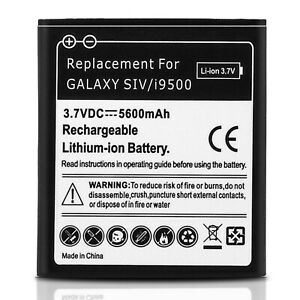 Battery for Samsung Galaxy S4, 5600 mAh Replacement Battery + Housing – White
