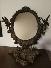 Antique, Solid cast iron vanity mirror, VERY Detailed, Beautiful (one owner)
