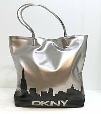 NWT DKNY Women Parfums Silver Dark Weekender Tote Bag Purse Handbag Skyline NY