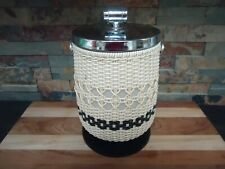 VINTAGE BAR ICE BUCKET PEDESTAL-YACHT-WOVEN-70's-BARTENDER-RARE-BOATING-NAUTICAL
