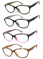 3 Pairs Womens Retro Cat Eye Rhinestones Reading Glasses Clear Lens Spring Hinge