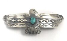 Native American Sterling Silver Navajo Hand Made Old LookTurquoise Hair Barrett