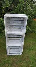 6 x WHITE WASHED APPLE CRATES DISTRESSED - STORAGE BOXES BOX IKEA ALTERNATIVE