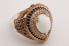 Turkish Jewelry Drop Shape White Black Onyx Topaz 925 Sterling Silver Ring Size