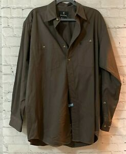Browning Mens Brown Solid Cotton Collared Long Sleeve Button Up Shirt Size Large