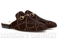 GUCCI men 9 brown GG Velvet leather trim PRINCETOWN Horsebit shoes NIB Auth $695