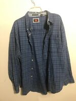 Men's Wrangler Hero Button Front Shirt XL Blue Plaid