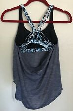 NWT Lululemon Size 4 Moment To Movement Tank 2 In 1 Bra Blue White HTDB/PCBW $68