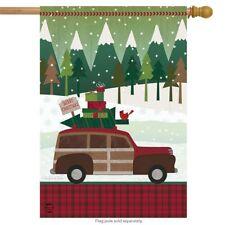"Christmas Wagon Primitive House Flag Holiday Presents Snowy 28"" x 40"""