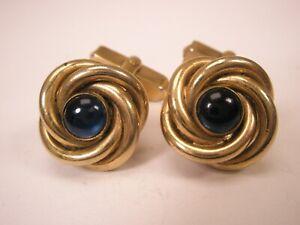 -Knots Blue Cabochon & Gold Tone Vintage SWANK Cuff Links