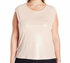 Calvin Klein Women's Sleeveless Metallic Gold Thread Top Plus Size 1X